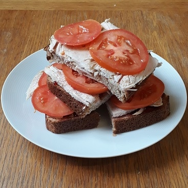 Picture of a sandwich using leftover roast turkey for my five more festive frugal things post