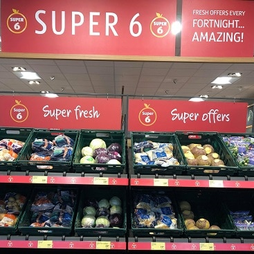 Picture of Super 6 offers at Aldi for my post on where to buy Christmas vegetables for less