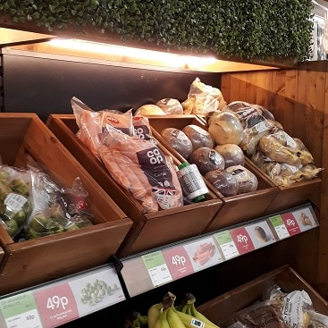 Picture of the 49p veg offers on the shelves in East of England Co-op