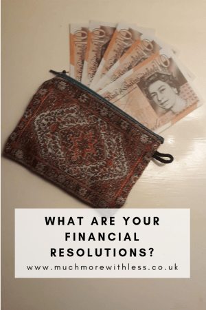 Pinterest size image of a purse with a sheaf of £10 notes for my post on financial resolutions