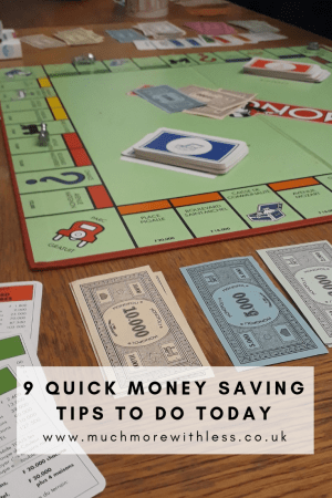 Pinterest sized image of monopoly board with paper money for my post on 9 quick money saving tips to do today