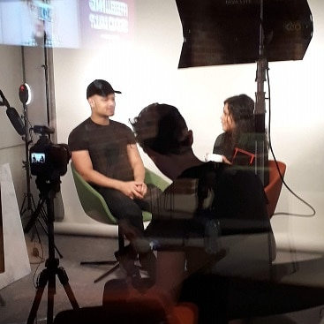 Picture of people being filmed in the B Works Manchester Social Media Studio