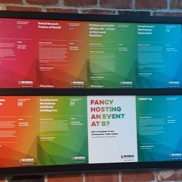 Picture of posters for events to be held at B Works Manchester