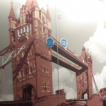 Picture of a mural of Tower Bridge in a corridor at Point A Hotel Shoreditch