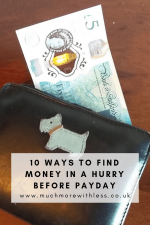Pinterest size image of a fiver in a purse for my post on 10 ways to find money in a hurry before payday