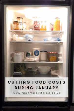 Pinterest sized image of the food in our fridge, for my post on cutting food costs in January