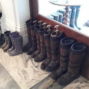 Picture of wellies lined up at The Ickworth Hotel