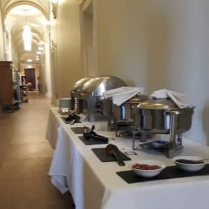 Picture of silver dishes of breakfast outside in a corridor at The Ickworth Hotel
