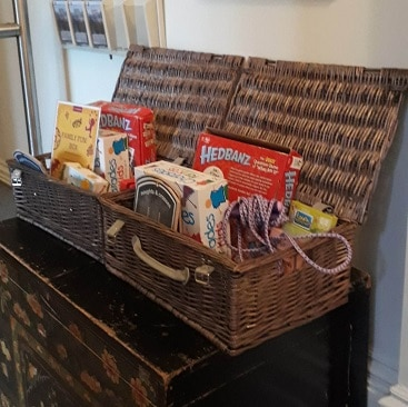 Picture of hampers of toys and games to borrow at The Ickworth Hotel