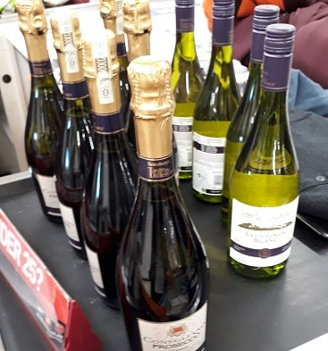 Picture of bottles of prosecco and sauvignon blanc bought with Nectar points during a Double Up Promotion