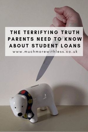 Pinterest sized image of a polar bear money box being stabbed with a knife for my post on what parents need to know about student loans