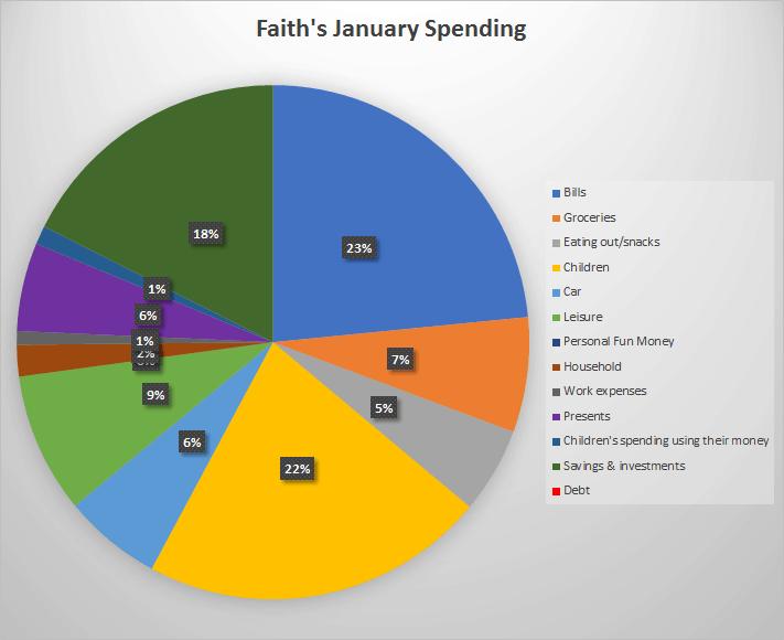 Pie chart of my January Spending