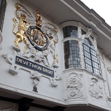 Picture of gilded crest and ornate windows of Lakeland in Ipswich, which we visited during a frugal Febriary half term