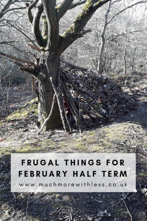 Pinterest sized image of the den built during a frugal february half term