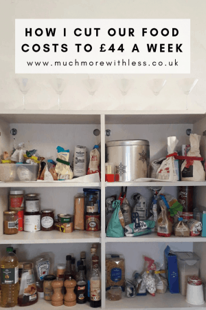 Pinterest size image of the inside of our kitchen food cupboard for my post on how I cut our food costs in January