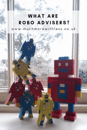 Pinterest size image of wooden robot toys and a lego robot for my post on what are robo advisers?