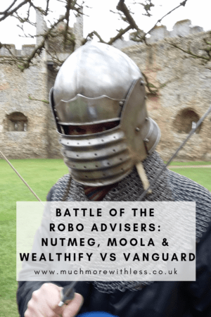 Pinterest size image of a man in armour for my post on robo adviser results
