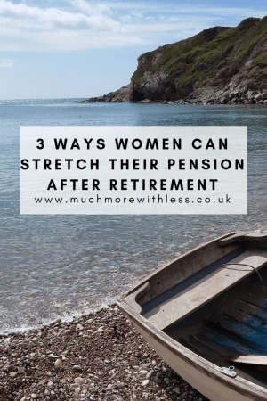 Pinterest sized picture of a boat pulled up on a beach for my post about how women can stretch their pension after retirement