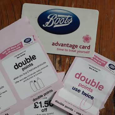 Picture of my Boots Advantage card and assorted vouchers for my post on five frivolous frugal things
