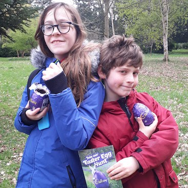 Picture of my children with their eggs after following the Easter Egg Hunt at Ickworth