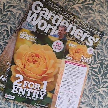 Picture of BBC Gardeners World magazine with 2 for 1 entry card