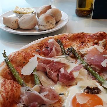 Picture of pizza and dough balls at the LP bar