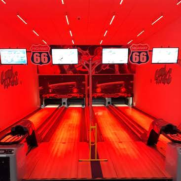 Picture of the mini bowling lanes at Planet Laser