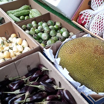 Picture of exotic veg including Thai aubergines and durian in Bury St Edmunds