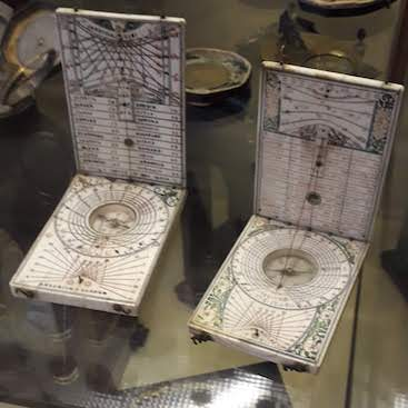 Picture of intricate compasses from the Moyse's Hall Museum