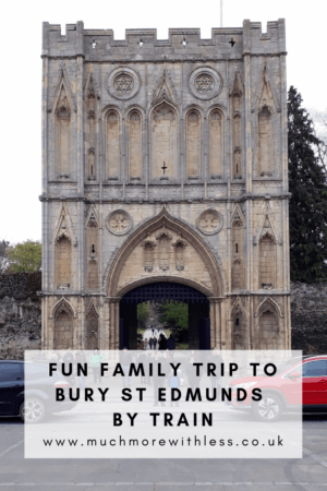 Pinterest size image of the Abbey Gatehouse for my post about our fun family trip to Bury St Edmunds by train