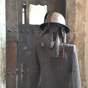 Picture of chain mail and helmet to try on in Moyses Hall Museum