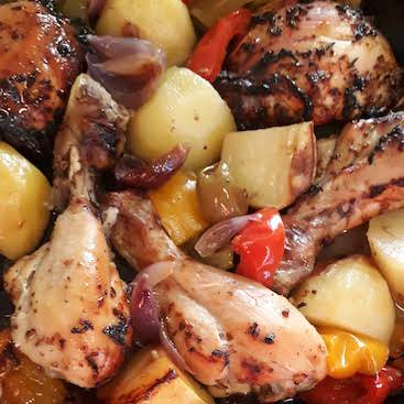 Picture of Mediterranean chicken tray bake from a WeightWatchers recipe