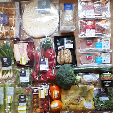 Picture of my shopping for healthy meals including cut price fruit and veg