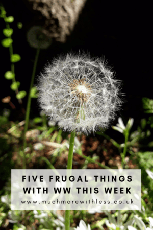 Pinterest size image of a dandelion for my post on 5 frugal things with WW this week