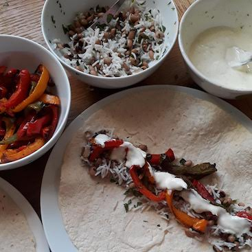 Picture of roasted pepper and black-eyed bean wraps with lime yogurt