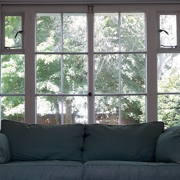 Picture of the trees and garden wall seen over our sofa
