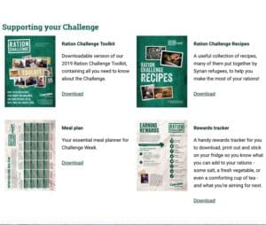 Screen grab of resources page for the Ration Challenge in including meal planner and recipe book