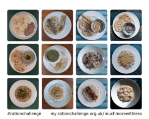 Picture with 12 images of the meals I ate for days 2 to 5 on the Ration Challenge