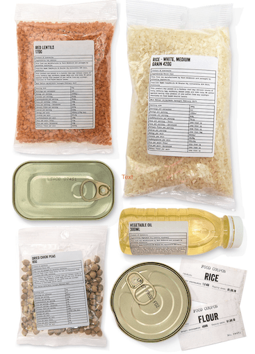 picture of the food in a Ration Challenge ration pack - lentils, rice, tin sardines, oil, chickpeas, tin kidney beans, vouchers for rice and flour