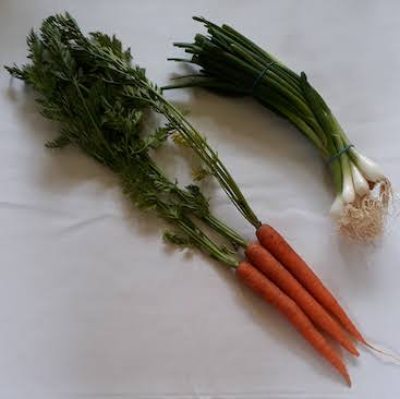 Picture of 170g carrots and 170g spring onions, for my choice starting the Ration Challenge