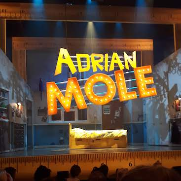 Picture of the big Adrian Mole sign at the start of the musical
