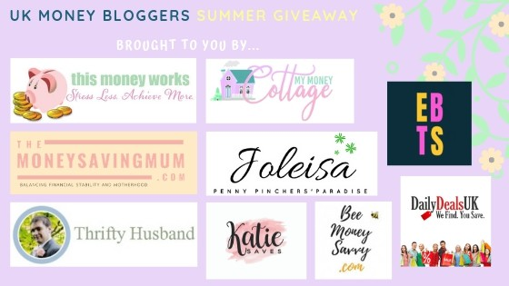 Picture with logos for the next 9 UK Money Bloggers taking part in the UKMB summer giveaway