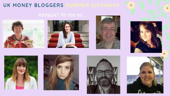 PIcture with headshots of the next 8 UK Money Bloggers taking part in the UKMB summer giveaway