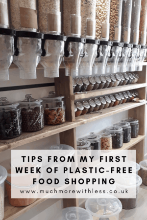 Pinterest size image of a refill store for my post with tips from my first week off plastic-free food shopping