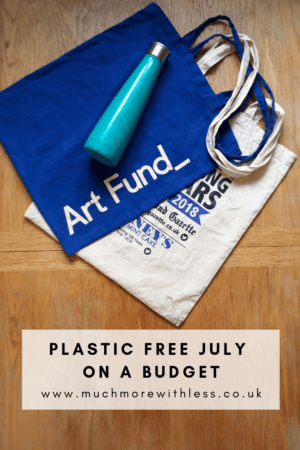 Pinterest sized image of two reusable bags and my refillable metal water bottle for my post about Plastic Free July on a budget