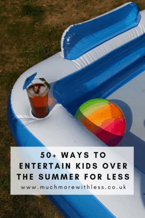 Pinterest sized image of paddling pool and beach ball for my post on how to entertain kids for less over the summer