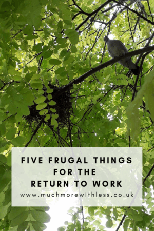 Pinterest size image of a bird and nest in a tree for my post with five frugal things for the return to work