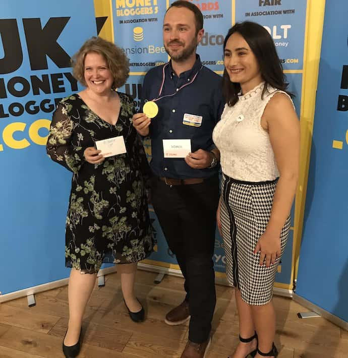 Picture of me with Andy from Be Clever With Your Cash and Make from Yolt, after winning runner up for Best Personal Finance Blog