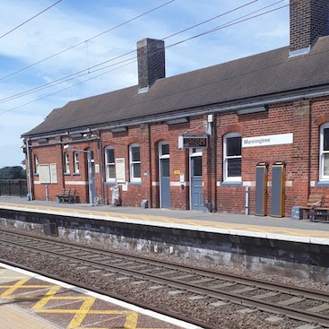 Picture of Manningtree station buildings and railway tracks for my post with five frugal things for the return to work
