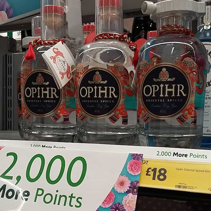 Picture of Opihr gin bottles on offer at Morrisons for my post on favourite apps to cut food costs